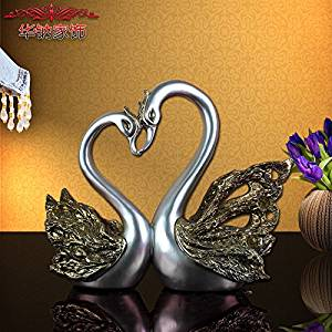 W&P Creative couples Swan ornaments ornaments home living room TV cabinet resin handicraft wedding gifts