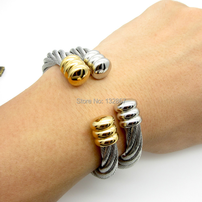 Wire Bracelets With Charms 2: Popular Unisex Women Twisted Rope Crafted Cable Wire
