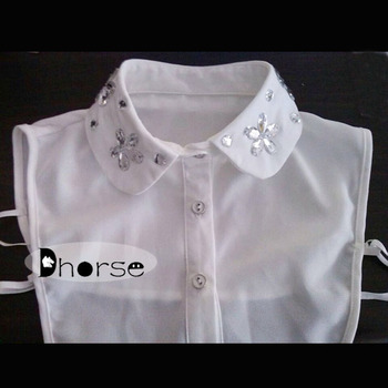 fa4f35a1c246 New fashion white shirt rhinestone beaded collar neck designs of kurtis  DHDC1515