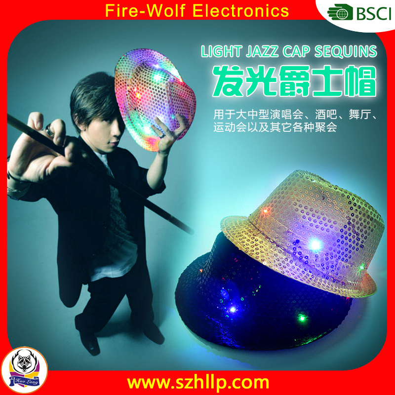 Performance Light up led Jazz cap Sequin led Caps for Birthday Party And Bar