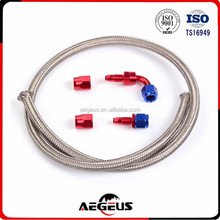8AN Braided SS Fuel Cell Gas Tank Line & Straight 90 degree Swivel Fittings Kit