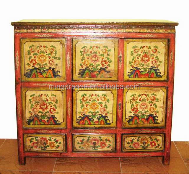 Chinese Antique Tibet painted cabinet