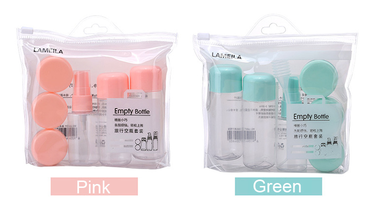 Transparent plastic bottle empty cosmetic lotion package travel bottle set for women