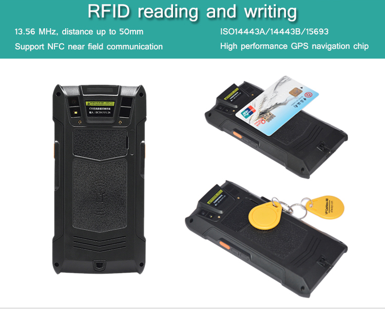 Mobile Emv Touch PDAS Android Barcode Handheld RFID GPS Data Collector C50