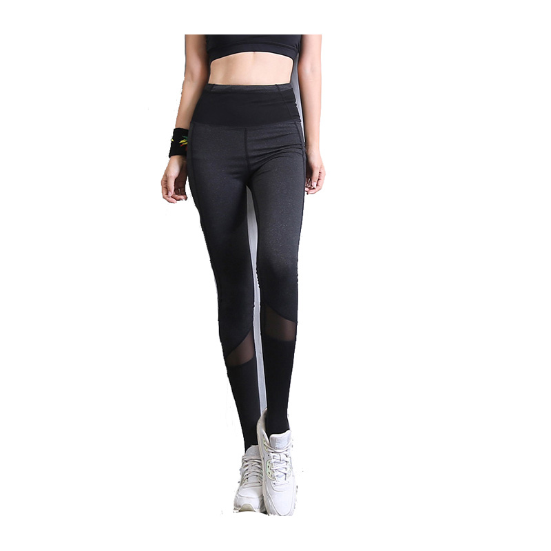 Women High Waist Yarn splicing Dance training Yoga Pants Active Workout Running Sports Leggings Hot Thin And Tight Black NCS396
