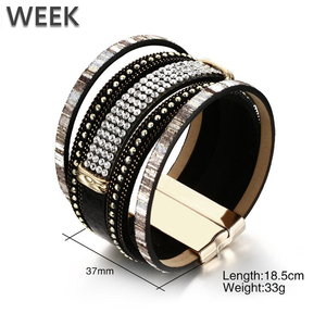 Week Jewelry Fashion Gothic Alloy Rhinestone Bracelets Magnet Buckle Women PU Wristband Bracelet Wholesale