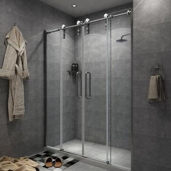 Double Sliding Barn Shower Door Stainless Steel Byp Roller Frameless Track Hardware Gl
