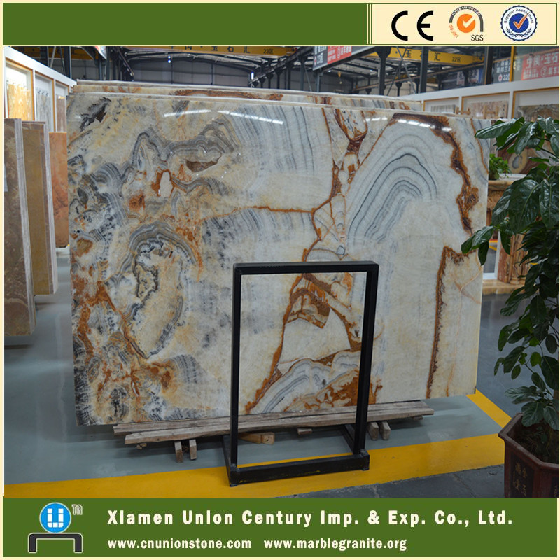 Traditional Chinese painting stone onyx gold veins white marble