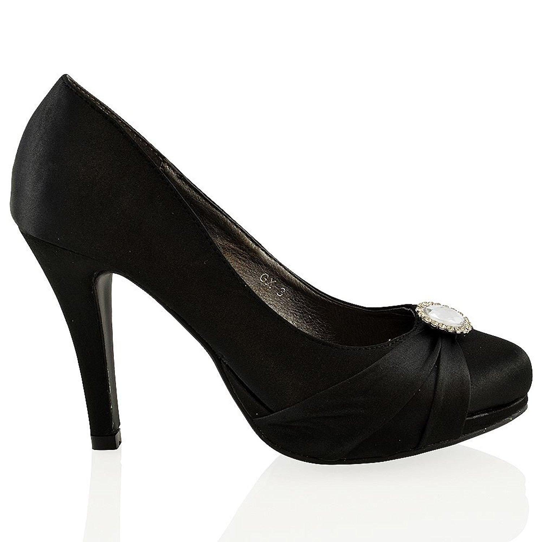 bc196e43e98 Get Quotations · ESSEX GLAM Womens Stiletto Heel Shoes Slip On Platform  Bridal Satin Brooch Court Shoes