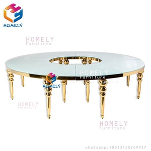 China wholesale LED Round Stainless Steel Decorative Metal Dining Table Wedding Table