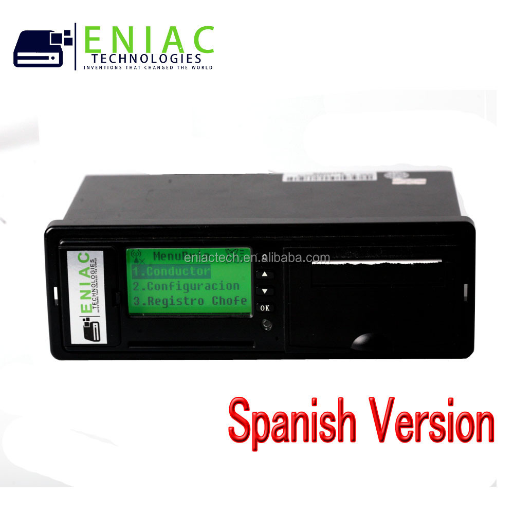 vehicle digital tachograph speed limiter gps traker with RS232 for camera temperature sensor and fuel sensor in Spanish