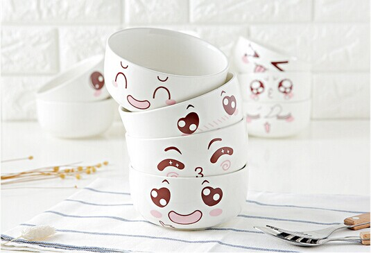Haonai 4.5 inch custom printed bowl porcelain ceramic bowl with cute design