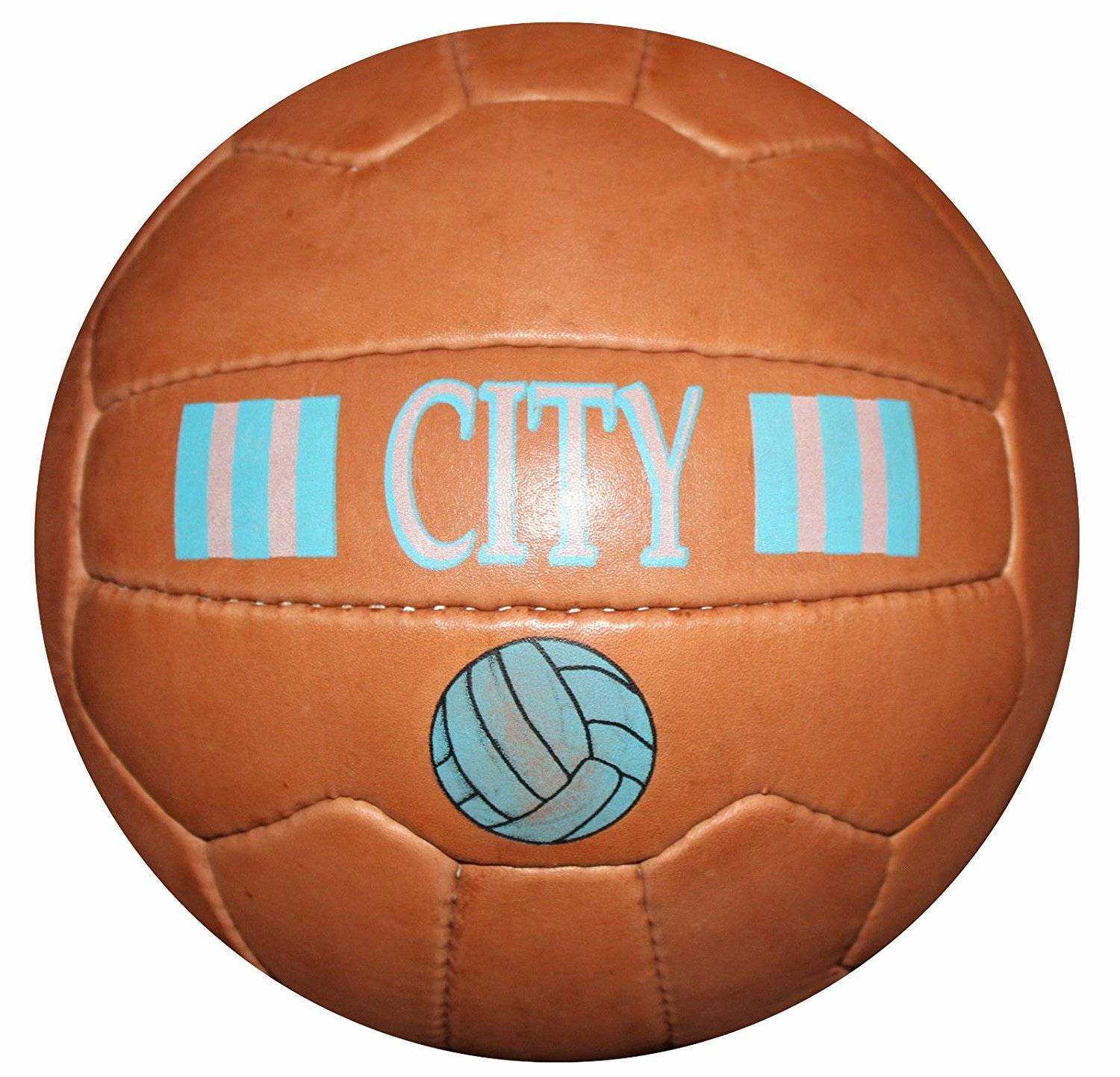 Manchester City - Vintage Leather Soccer Ball 1966 -- 100% leather