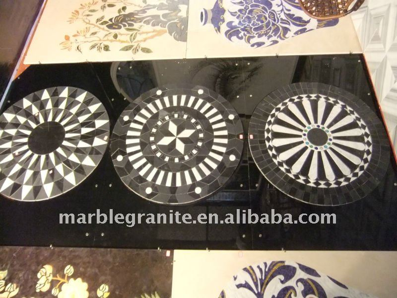 Black with White Mosaic Marble Floor Medallion