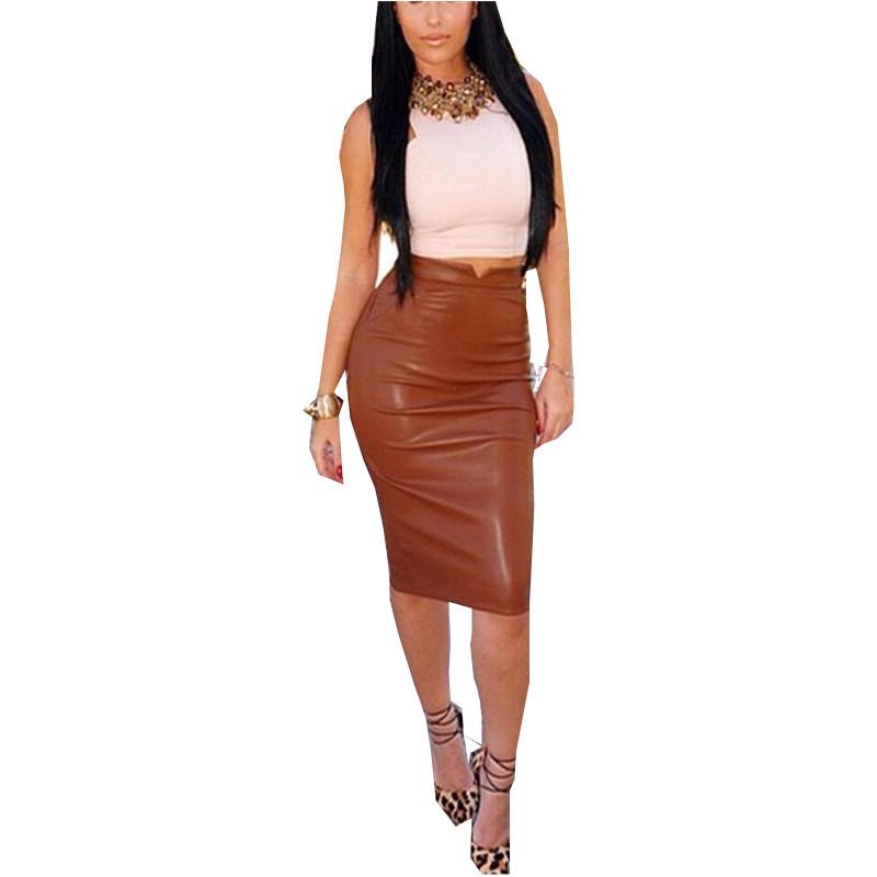 Zanzea Fashion 2016 Women Soft PU Leather Skirt High Waist Slim Hip Pencil Skirts Vintage Bodycon