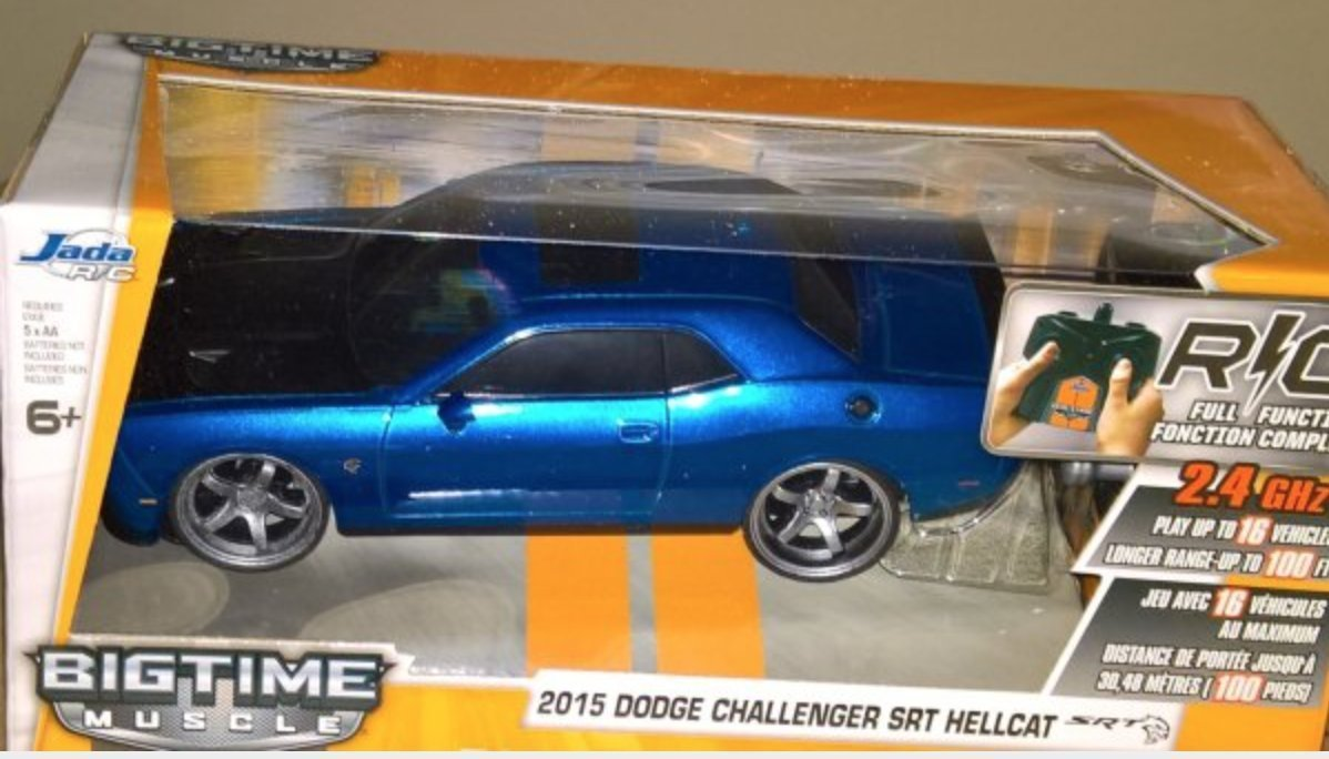 Jada Toys BTM Radio Control Vehicles 2015 Dodge Challenger SRT Hellcat Vehicle, Blue, 7.5""