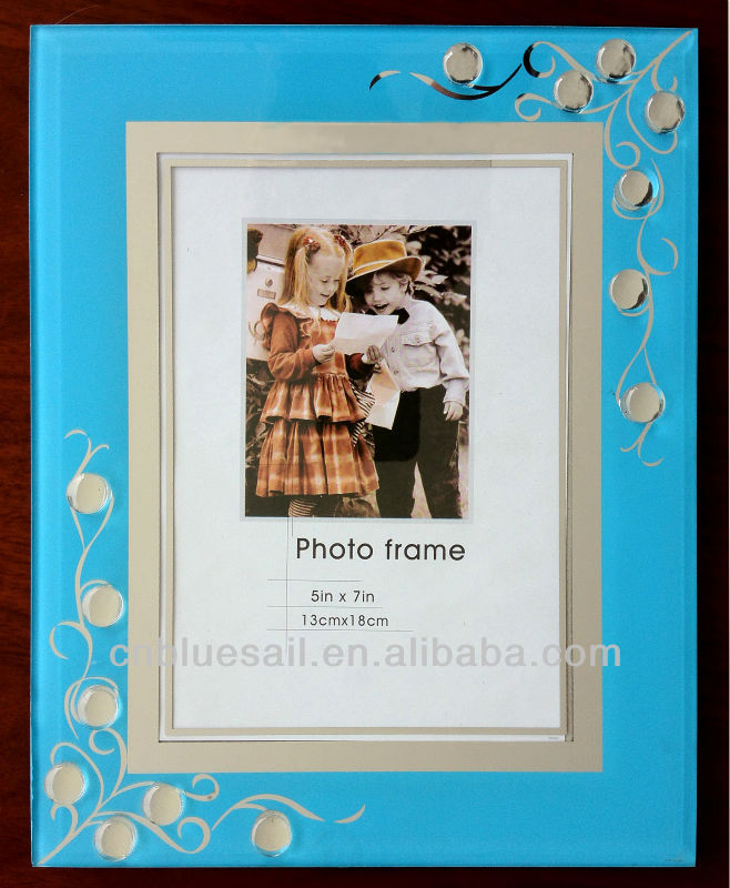 13x18 Glass Frame, blue glass photo frame, jewelry glass picture ...