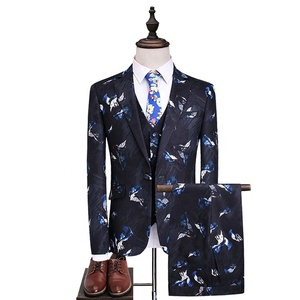 2019 latest design printing TR fabric 3 piece slim fit coat pant men suit for groom wedding