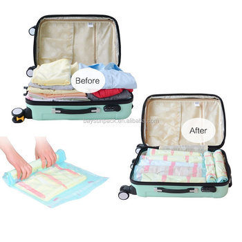 Use Without Air Pump Travel Compress Vacuum Roll Up Storage Bag