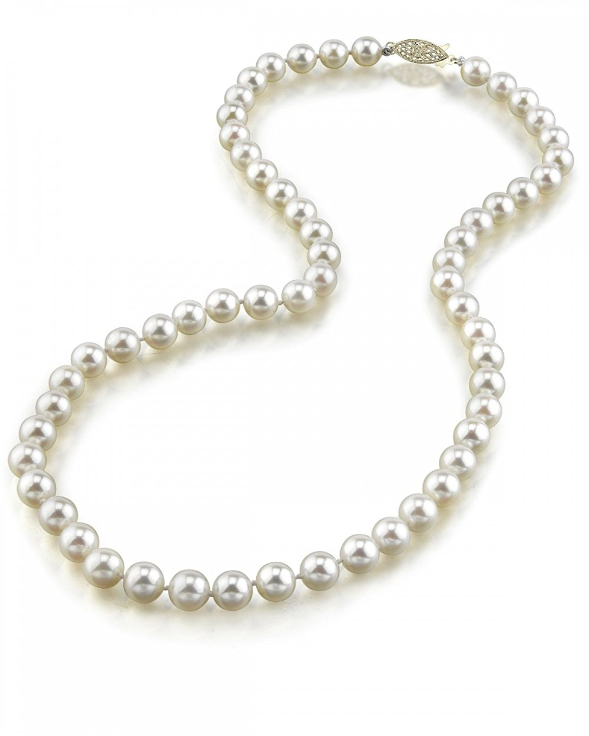 14K Gold 6.5-7.0mm Japanese Akoya White Cultured Pearl Necklace - AA+ Quality, 16 Inch Choker Length