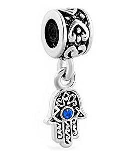 3f747e8e94d6 Get Quotations · Blue Evil Eye Hamsa Hand of Fatima Dangle Charm Hanging  Pendant Fits Pandora European Bracelet