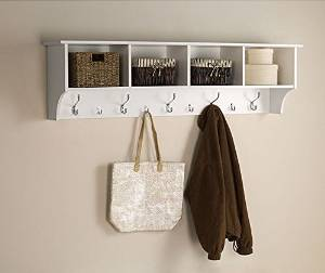 White 5 Ft Entry Hall Shelf with 4 Cubby and 9 Hook Coat Rack. A Wall Mount Storage Hat Rack Makes a Convenient Space Saver That Keeps Your Entryway Organized. Use a Hanging Entryway Shelf to Reduce Clutter.