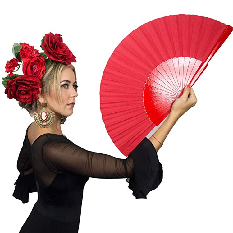 Ole Flamenco Red Pericon Spanish Handmade Hand Fan <strong>Wood</strong> for Flamenco Dance Abanico Abanicos