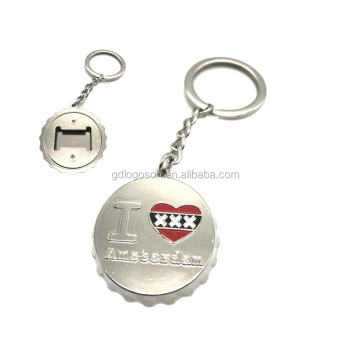 Popular Armsterdam Souvenirs Metal Silver Round Bottle Opener Cap Shaped Keychains with Custom Logo
