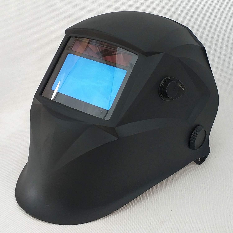 "Welding Helmet, 4 Sensors Solar Power Auto Darkening, Shade Range DIN 4/9-13 Variable and High Optical Class (1/2/1/1), Big Viewing Area 3.86x2.17"" (98x55mm), PA Body, Welding Mask"