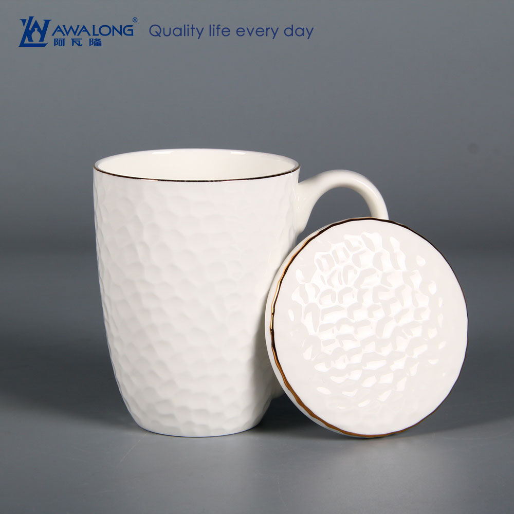 Pretty Embossed Ceramic Coffee Cup Lid