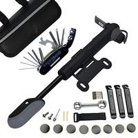 Tire Repair Kit - 120 PSI Mini Pump & 16 in 1 Bicycle Multi Tool with Handy Bag Included Glueless Tire Tube Patches & Tire Lever