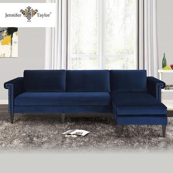 Muebles De Sala Sofá Seccional Tela,Azul Marino Tapicería De ...