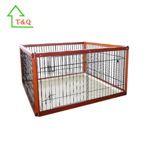 Oak Wood Iron Fence Fold Flat Puppy Dog Show Cage