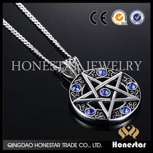 Pentagram pendant necklace fashion vintage men necklace blue zircon necklace