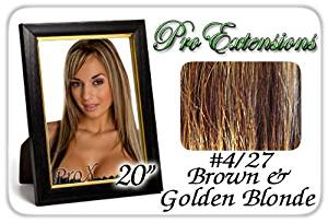 "Pro Extensions 20"" x 39"" #4/27 Dark Brown w/ Golden Blonde Highlights 100% Clip on in Human Hair Extensions"