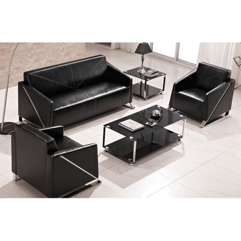 Good Quality Black Leather Commercial Office Couch Sofa Set With Metal Legs
