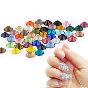 Sparkling Non Hot Fix Flat Back Rhinestones, Glass Nail Art Rhinestones For Decoration