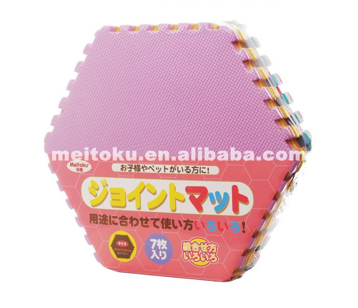 Non Toxic Meitoku Colorful Hexagon Eva Solid Puzzle Mat