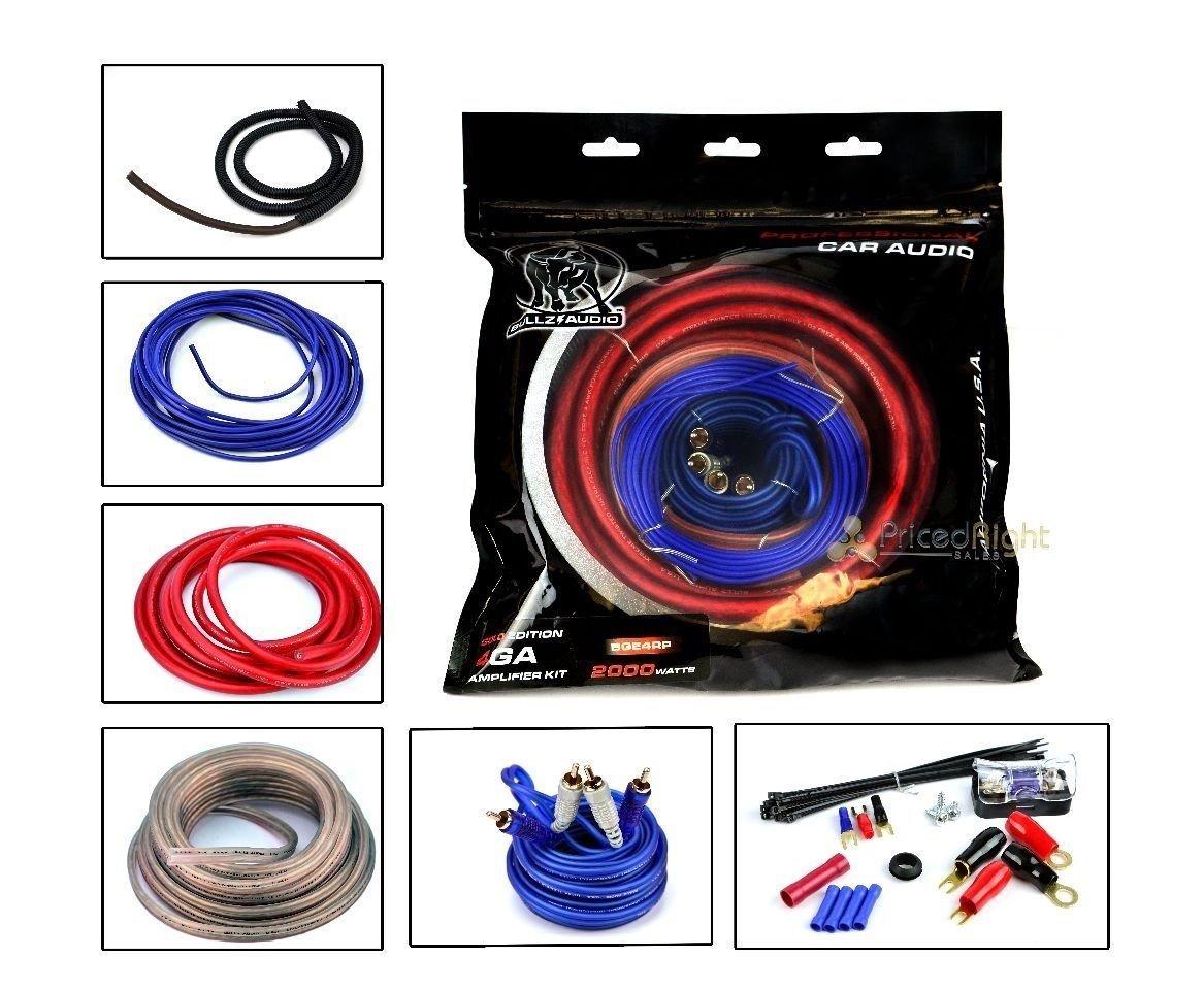 Cheap 4 Awg Amp Wiring Kit Find Deals On Line Car Get Quotations Bullz Audio Gauge Amplifier Installation Power Bge4rp