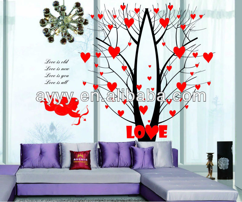 AY863 Valentine tree love Cupid's arrow wall sticker DIY home decor decal