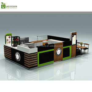 Wooden shopping mall crepe food kiosk fancy fast food kiosk design mobile donut food kiosk for sale