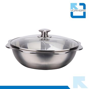 Flower Shape Stainless Steel Restaurant Table Hot Pot With 2 Dividers For  Sale