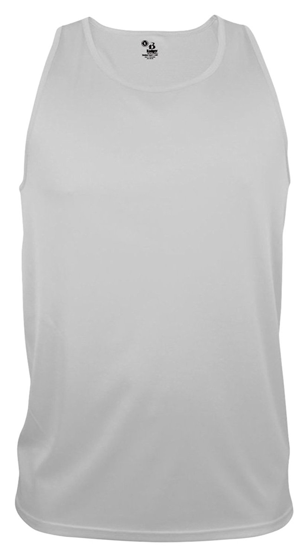 Badger Big Boys Scoop Neck Sleeveless Plain Sports Tank Top White X-Large