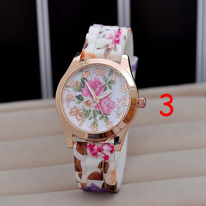 Amazon Hot Selling Women Chic Silicone Strap Flower Style Jelly ...