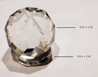 faceted ball glass card holder for  office furniture
