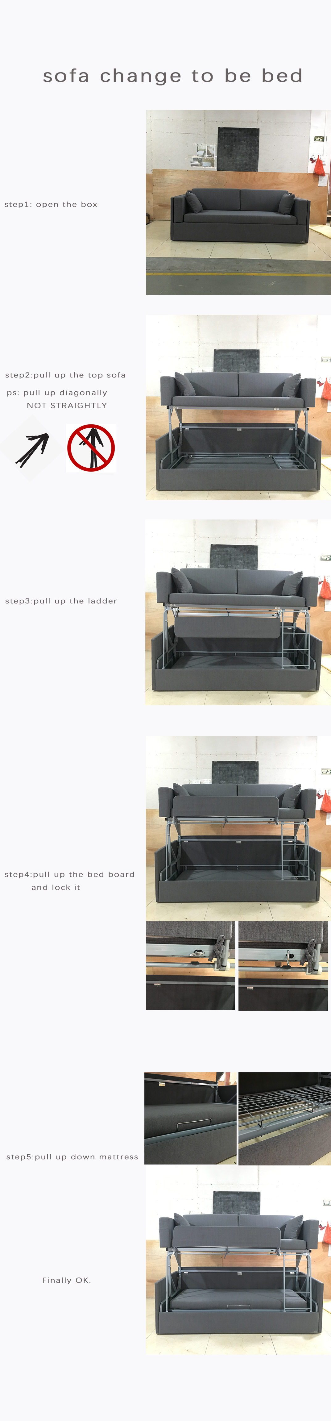 Wholesale modern colorful sleeper sofa bunk bed folding sofa