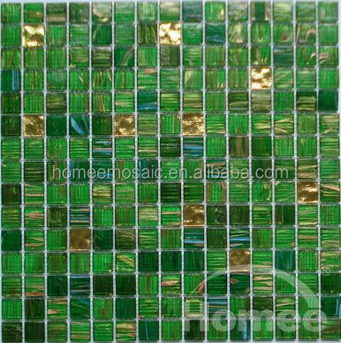 Diamond Mosaic Green Mosaic Tile with Gold Line Glass Moaic tile