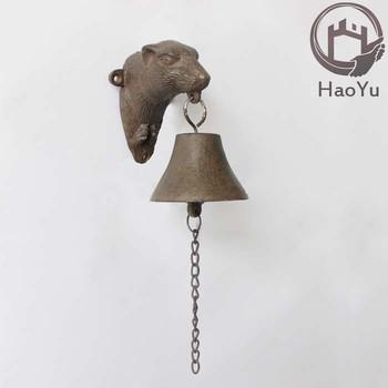 Dog Head Shaped Cast Iron Hanging Door Bell For Garden Decoration
