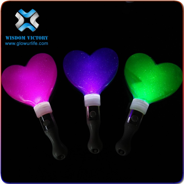Hot sales christmas item eco-friendly plastic heart shape LED glow stick for party decoration , concert light stick