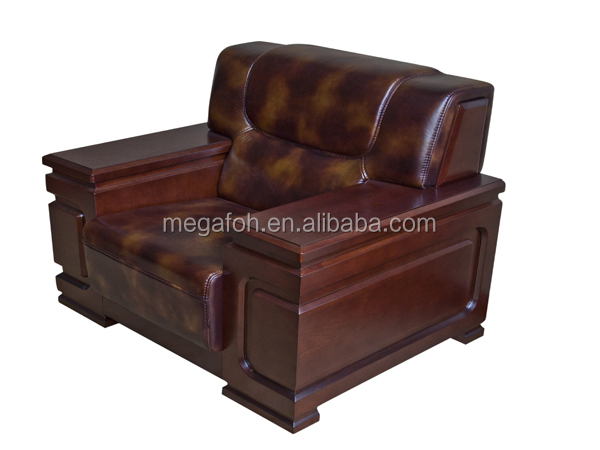 Single Seat Office Conference Room Sofa Solid Wood Frame Leather Couch (FOH 1275)